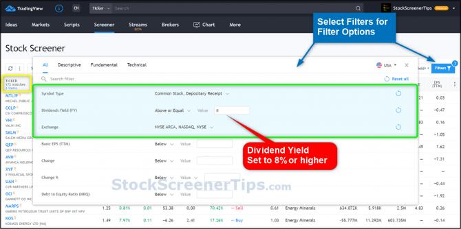 dividend stock screener dividend yield