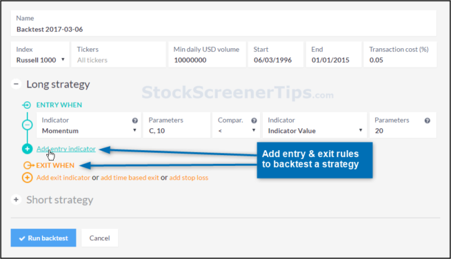 Finviz elite stock screener backtest setup