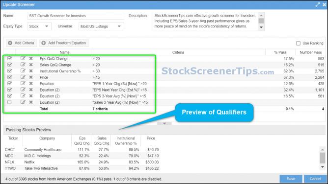 high growth stock screener criteria investors